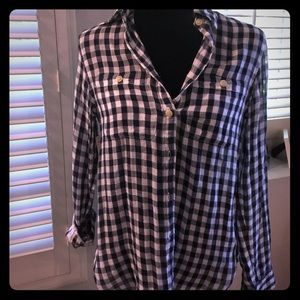 NWT Checkered Navy and White Top